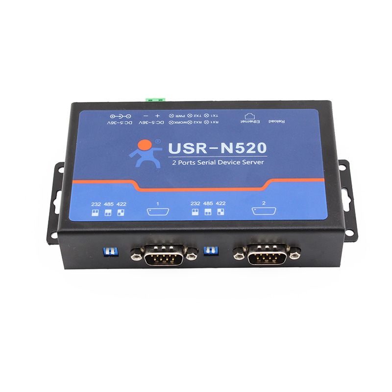 Q18040 USRIOT USR-N520 Serial to Ethernet Server TCP IP Converter Double Serial Device RS232 RS485 RS422 Multi-host Polling hightek hk 8116b industrial 16 ports rs485 422 to ethernet converter ethernet to serial device server