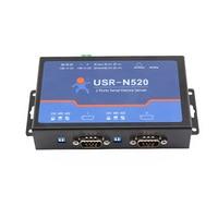 Usriot USR-N520 직렬-이더넷 서버 tcp ip 변환기 이중 직렬 장치 rs232 rs485 rs422 다중 호스트 폴링 q18040