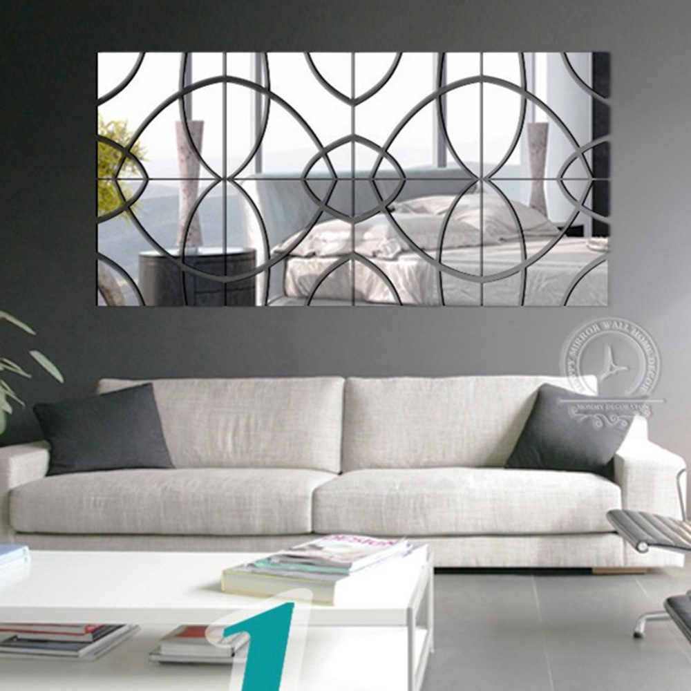 European popular 3 d DIY acrylic mirror wall post modern ...