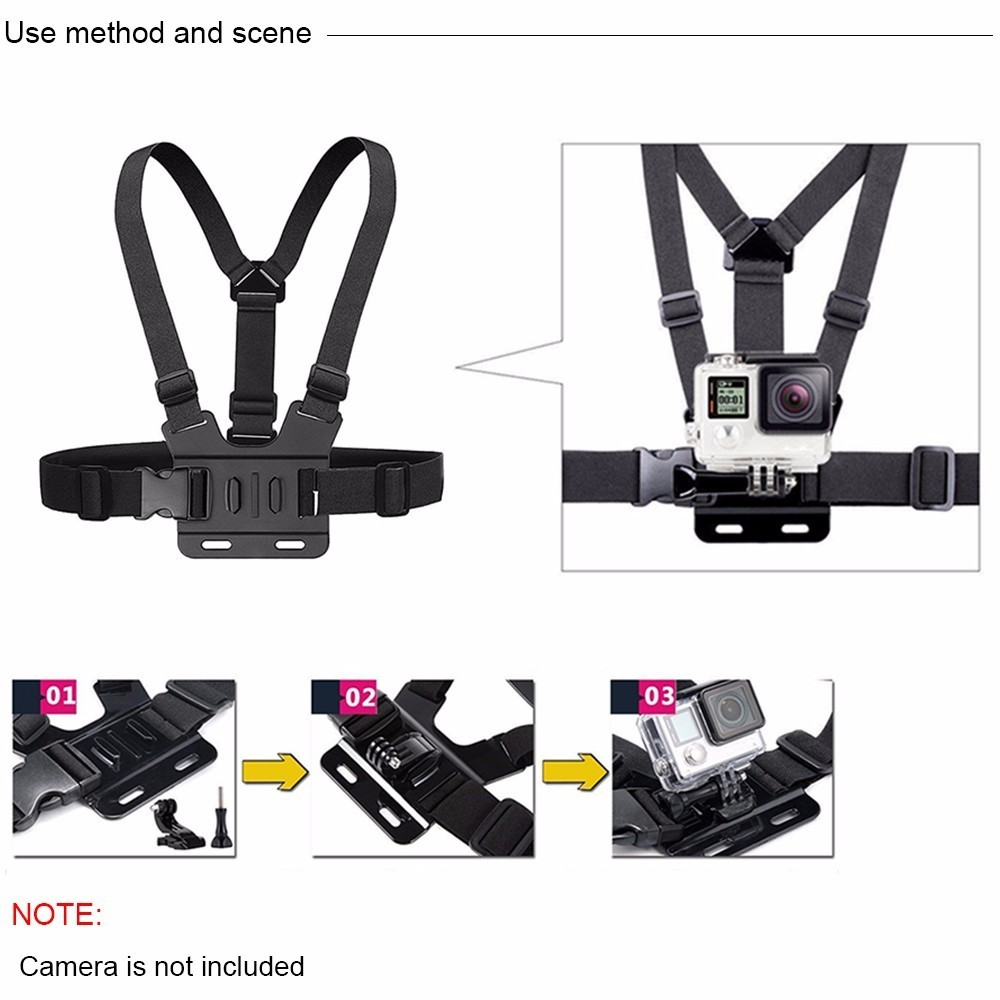 Image 3 - Accessories For Gopro 7 Set 50 1 Kits Selfie Stick Strap Mount Head Chest For GoPro Hero7 Black 6 5 Case Yi 4K Sjcam Large Box-in Sports Camcorder Cases from Consumer Electronics