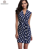 Miss Moly Women S Sleeveless Polka Dots Tie Waist Wrap Dress XS S M L XL