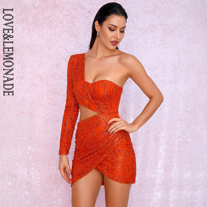 Image 2 - LOVE&LEMONADE Sexy Orange Cut Out Single Sleeve Glitter Glue Bead Material Bodycon Party Dress LM81650