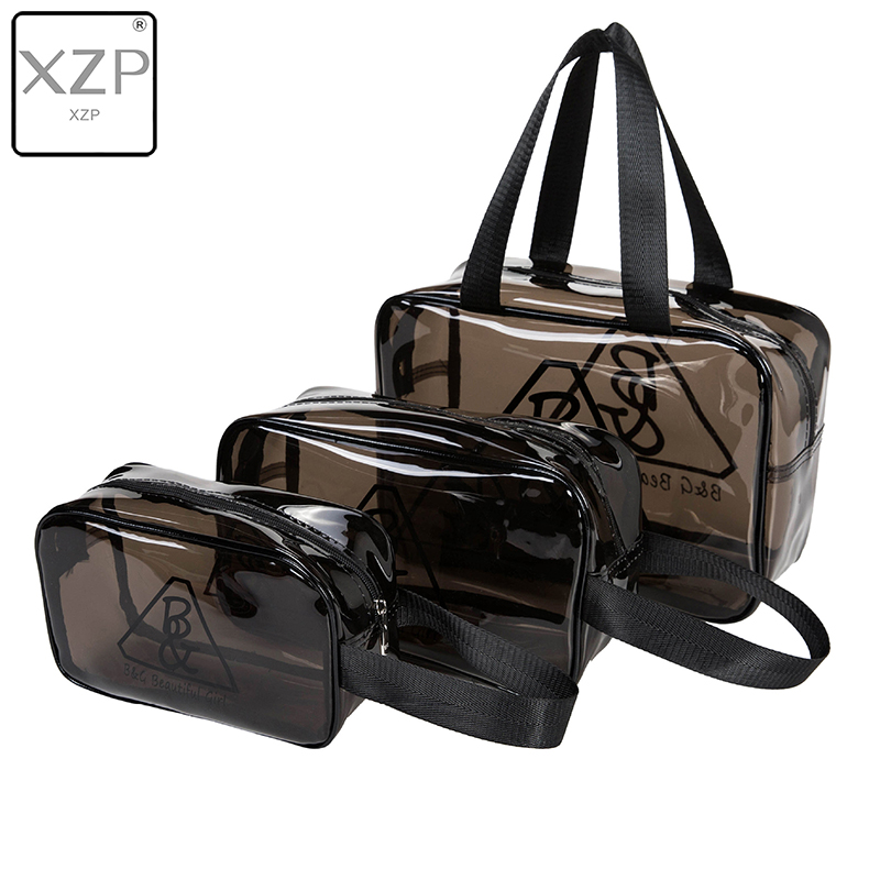 XZP 3 Size Durable Waterproof PVC Women's Travel Cosmetic Bag Thickened Brown Black Transparent Multi Purpose Zipper Makeup Bag
