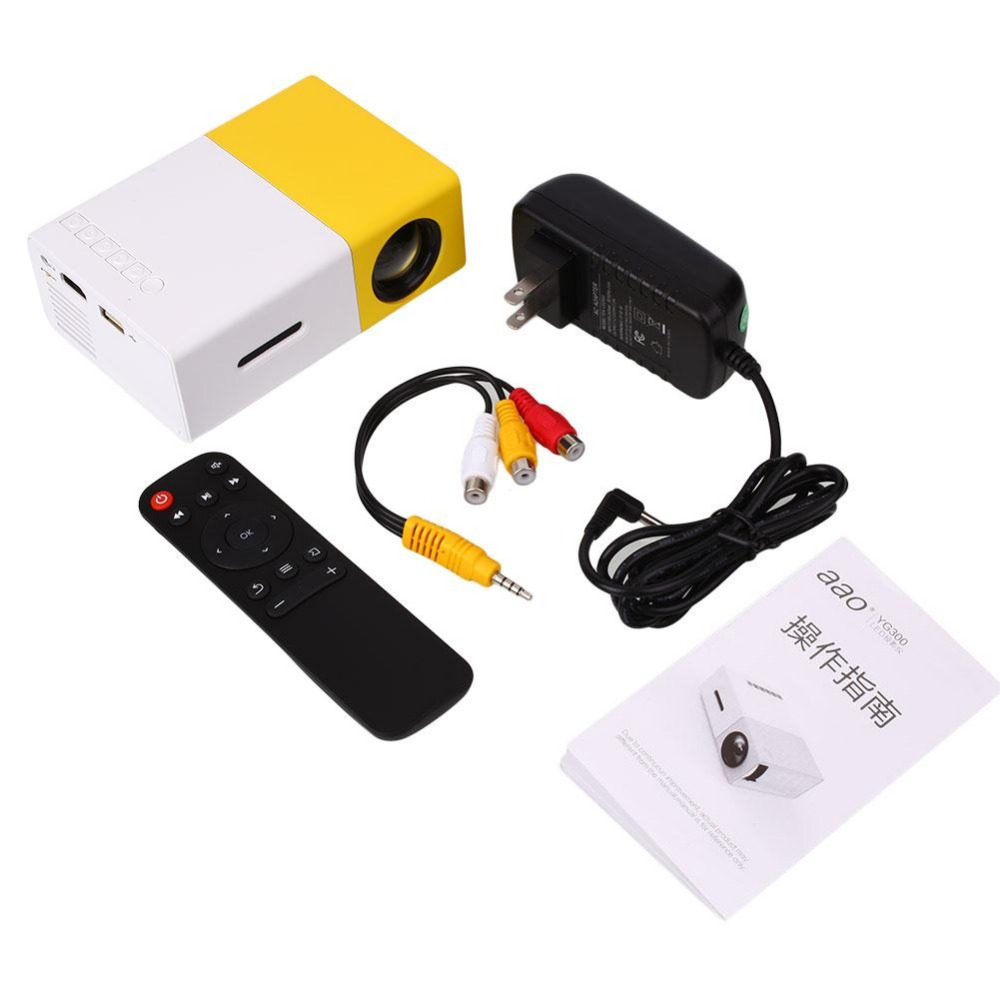 US PLUG YG300 Projector Portable LCD 600LM 3.5mm Audio HDMI USB Mini Projetor Home Theater Media Player