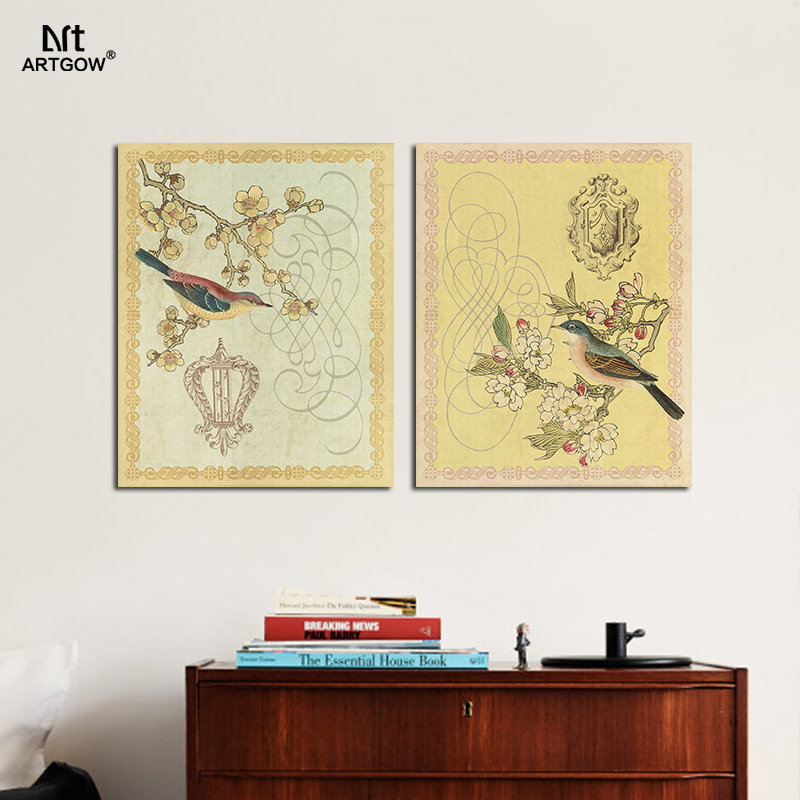 Retro Yellow Birds Plum Flowers Art Picture posters decoration ...