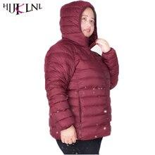 Hijklnl плюс Размеры 6XL 7XL ультра легкая зимняя куртка-пуховик Для женщин; коллекция 2017 г.; на осень-зиму с капюшоном Пуховые пальто парка Для женщин piumino Donna QN597