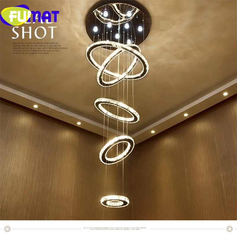FUMAT Crystal Stainless Steel Ring Pendent Lamps LED Dimming Remote Control Lighting Fixture Luxury Villa Three Color DIY Light