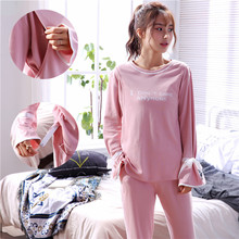 Cotton Maternity Pajamas Set T-shirt+Trousers Adjustable Walking Clothes O Collar Pregnant Women Nursing Clothings Nightgown