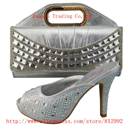 ФОТО FREE SHIPPING BY DHL.!!! 2014 New arrival  african shoes and matching bags 1308-403 Size 38.39.40.41.42 silver color