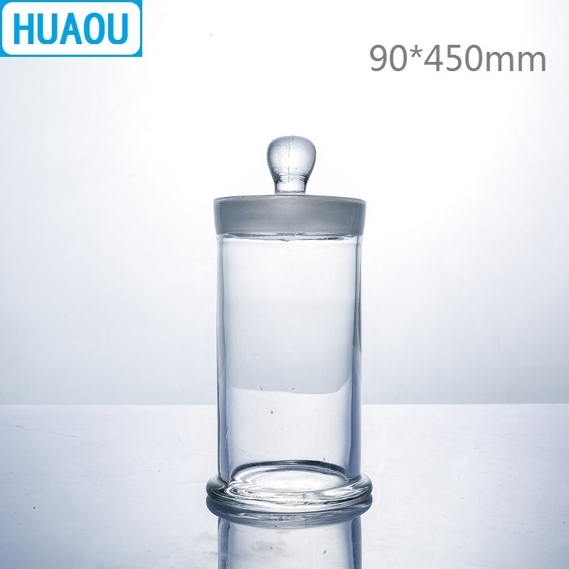 HUAOU 90*450mm Specimen Jar With Knob And Ground-In Glass Stopper Medical Formalin Formaldehyde Display Bottle