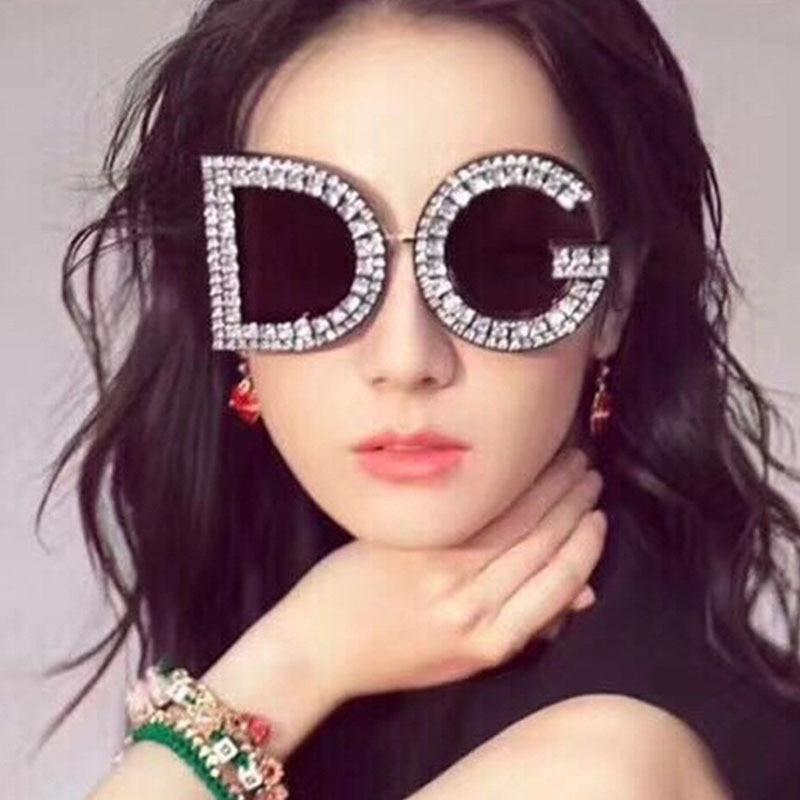 2020 Fashion Crystal Diamond Round Oversized Brand Luxury Dg Sunglasses Ladies Sun Glasses For Women Party Aliexpress