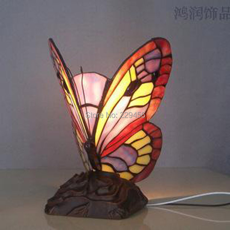 Marvelous Butterfly Shape Stained Glass Tiffany Table Lamp Living Room Bedside Lamp  Decor E27 110 240V