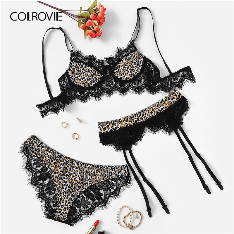 COLROVIE Lace Trim Leopard Garter Sexy Intimates Women Lingerie   Set   2019 Fashion Wireless Ladies Underwear Suit   Bra     Set