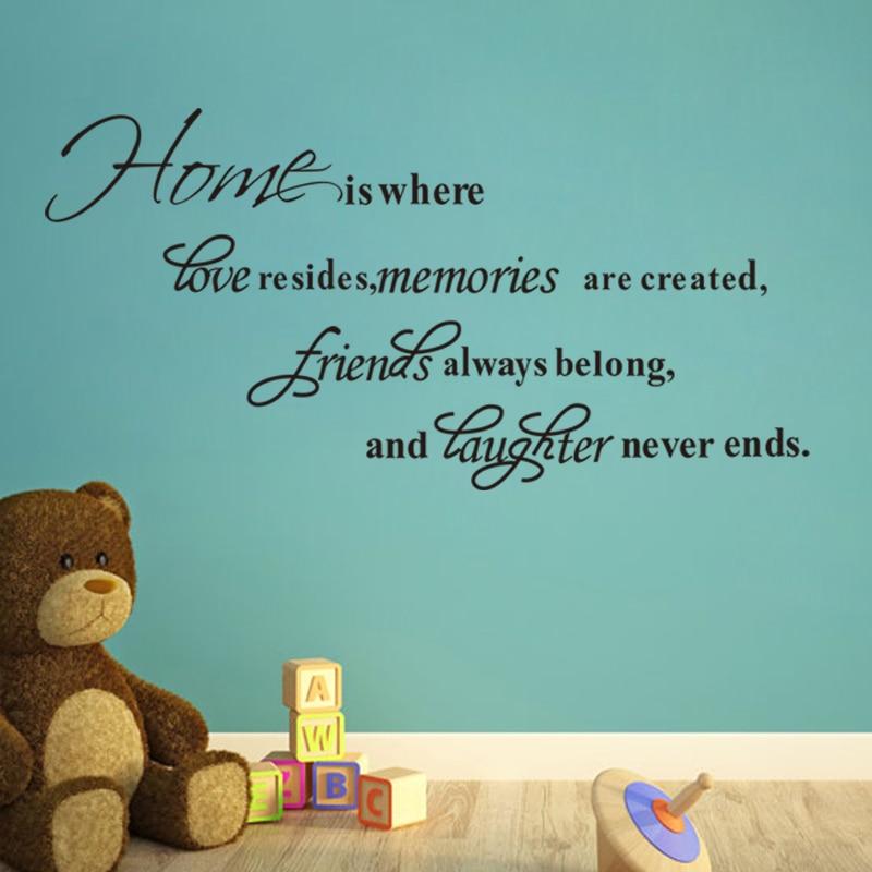 Дом там, где Любовь Проживает воспоминания создаются Виниловые наклейки стены Котировки гостиная indoor Wall Art DIY Съемный Наклейки