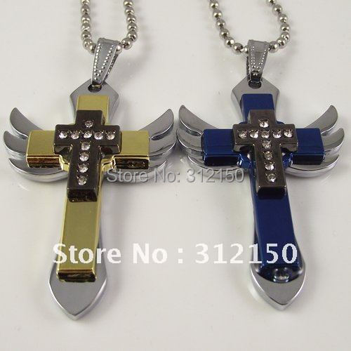 20pcs Free Shipping Stainless Steel Wing Cross Pendant Stainless Steel Chain Wing Cross Necklace Cross Pendant