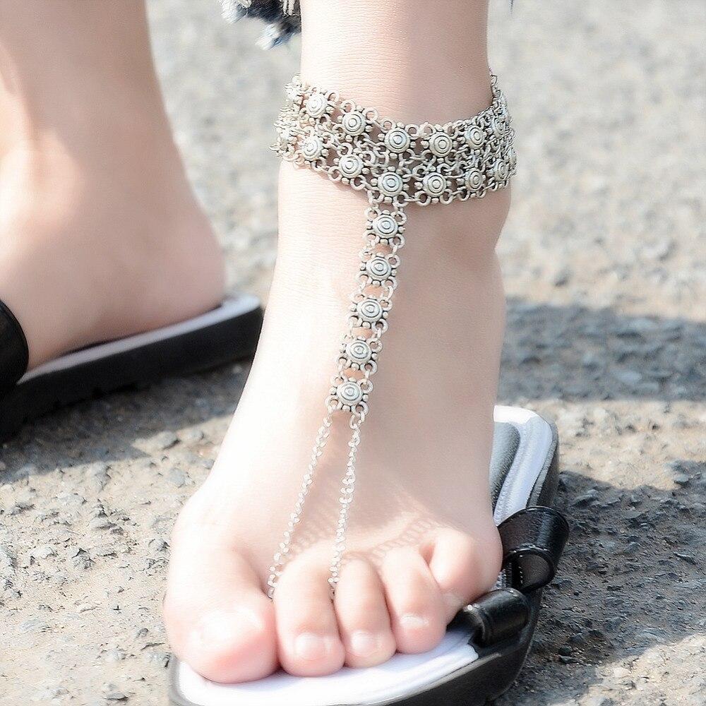 Vintage Ankle Bracelet Bohemian Flower Anklets Leg Jewelry chaine cheville Silver Color Tassel barefoot sandals