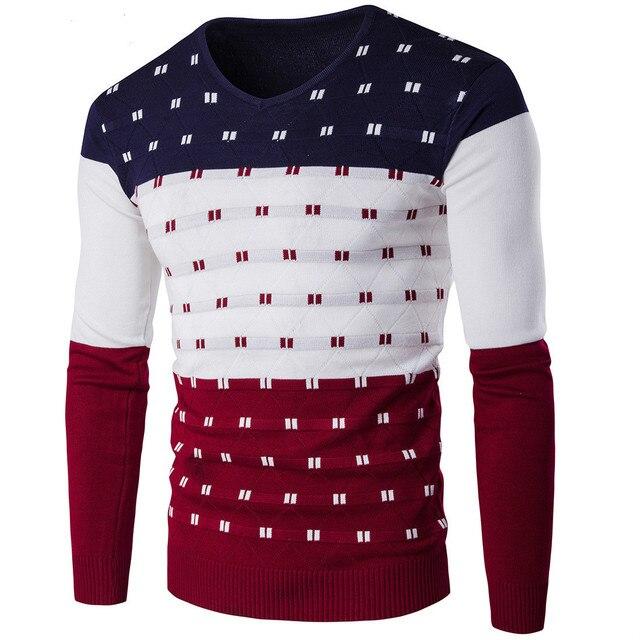 2018 5 цветов полосатый свитер мужской теплый длинный рукав v-образный вырез зимняя одежда для мужской моды Slim Fit принт пуловер свитер