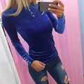 new Button pink red green blue T shirt women's Tops & Tees autumn winter solid long sleeve female clothing