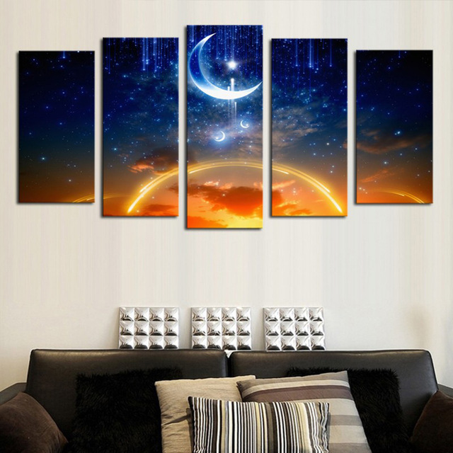 amazing outer space painting star moon 5 panel wall art canvas