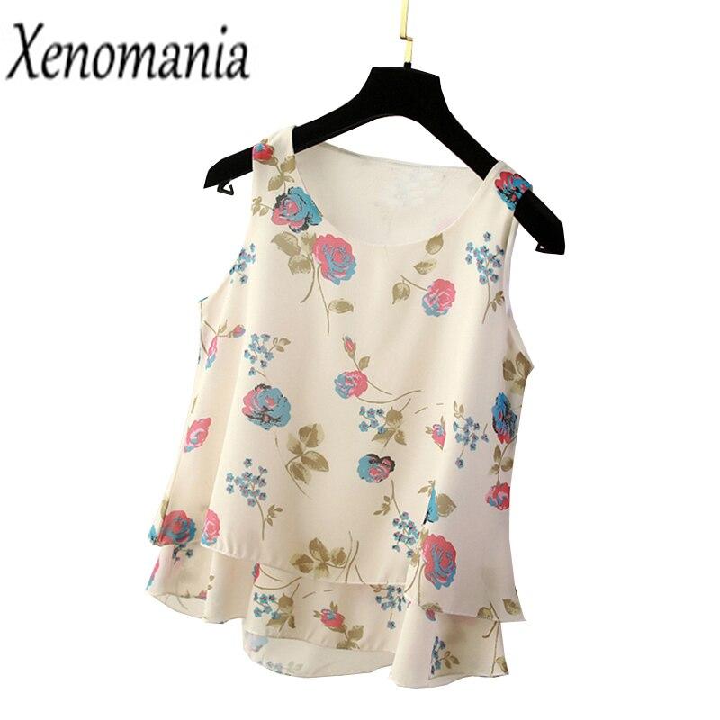 Floral   Blouse   Plus Size Tops XXXL 4XL 5XL Summer Sexy Sleeveless Chiffon   Blouse     Shirt   Blusas Mujer De Moda 2018 Kimono Boho Top