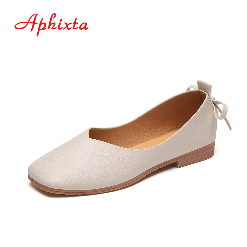 Aphixta Loafers Shoes Women Flat Flock Autumn Art Handmade Shoes Casual Fashion Comfortable Flat Heel Casual Slip On Women Flats cresfimix zapatos women cute flat shoes lady spring and summer pu leather flats female casual soft comfortable slip on shoes