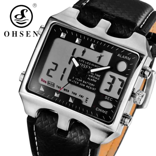 6fc7f71ee7a Online Shop OHSEN Analog Digital Men Sport Watches Backlight Reloj Hombre  Relogios Masculino Waterproof Genuine Leather Dress Wrist Watch