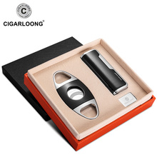 CIGARLOONG Cigar lighter sets fitted with cigar shears Sharpness metal stainless steel gift boxedCQ-0126