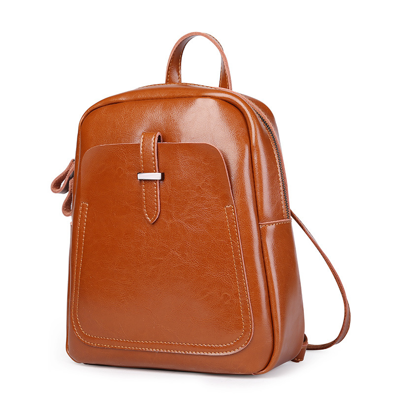 100% Natural Oil Wax Cow Leather Women Backpack Preppy Style Student's School Bag Genuine Leather Small Women's Travel Bag women s oil wax genuine cowhide leather backpack lady girl school bag crossbody shoulder travel bag for woman mr1037