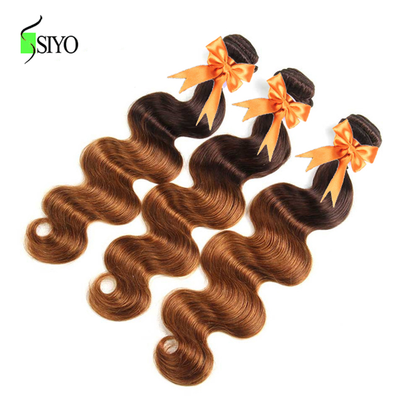 Hair Extensions & Wigs Siyo Malaysia Ombre Hair Bundles 100% Human Hair Body Wave 3 Bundles Hair Extension Double Weft 2 Tone P4/30 Remy Free Shipping