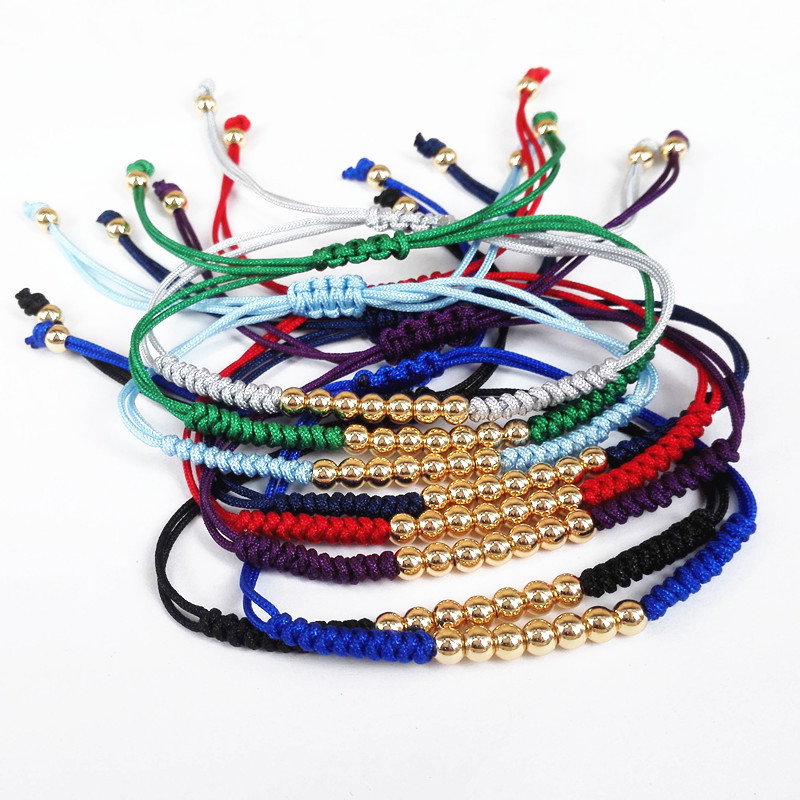 2018 Colorful New Design Whole Top Quality Braided Bracelets 24k Gold Round Bead Handmade Macrame For Women Gift