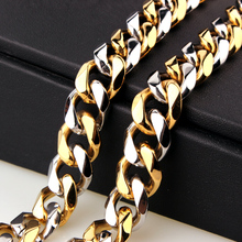 Mens 15mm Curb Cuban Link Chain Necklace Hip hop Silver Gold Color Stainless Steel Chains For Men And Women Hop Jewelry