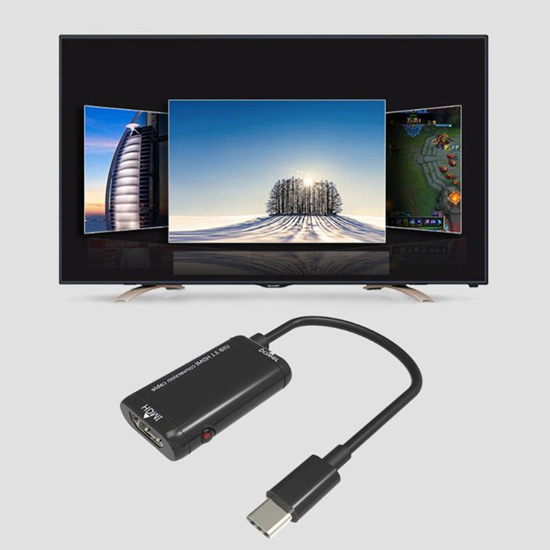 USB-C Type C To HDMI Cable Adapter USB 3.1 Aux Cable MHL For Android Phone Tablet Projector Black US HDTV