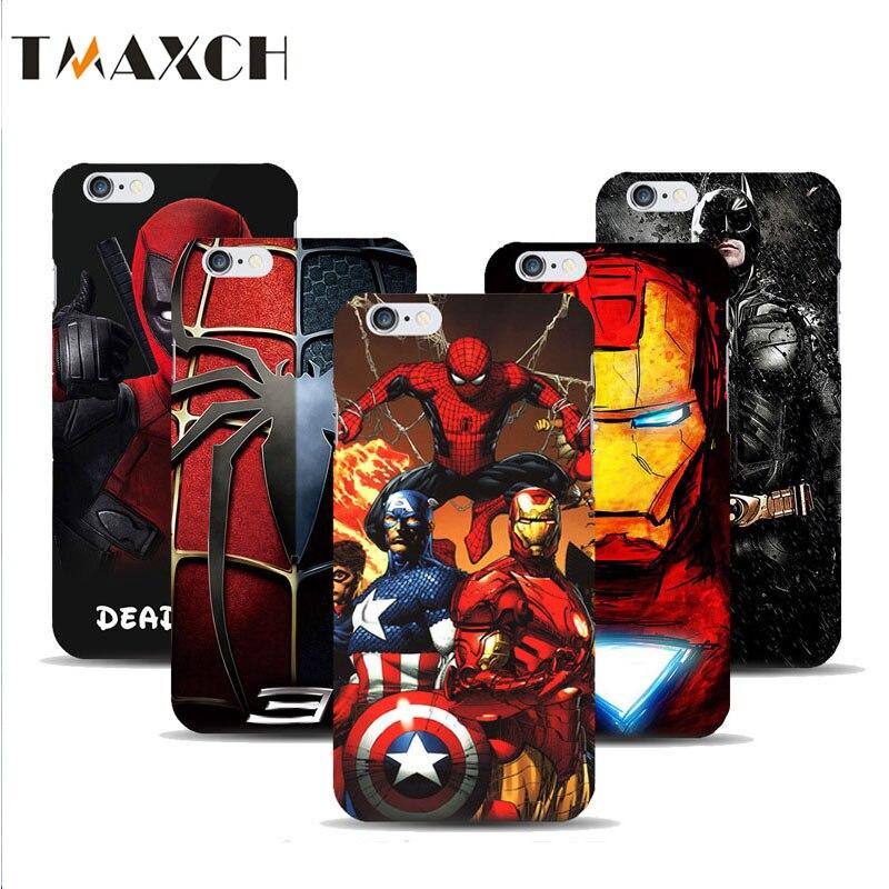For Iphone X 5 5S Deadpool Spiderman Avengers Hard Plastic