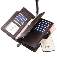 2015 High Quality Men Wallets Long Double Zipper Brand Men Leather Wallet Purse Male Phone Handbag