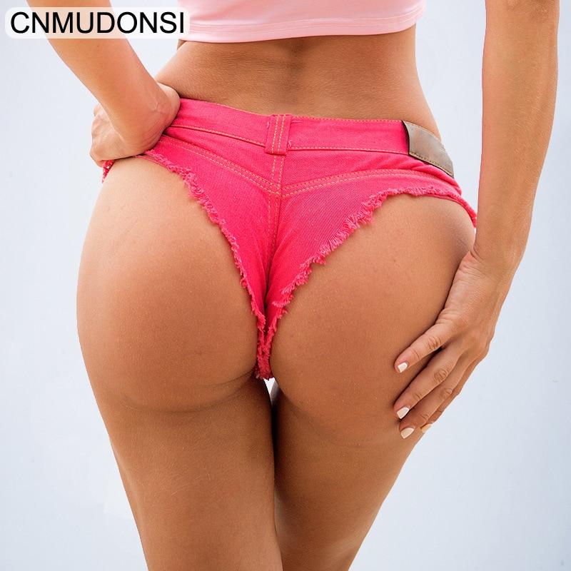 CNMUDONSISexy Booty Cheeky Denim Bikini Micro Mini Shorts Thong   Jeans   Triangle Low Rise Waist Skinny Short Hotpants Hot Clubwear