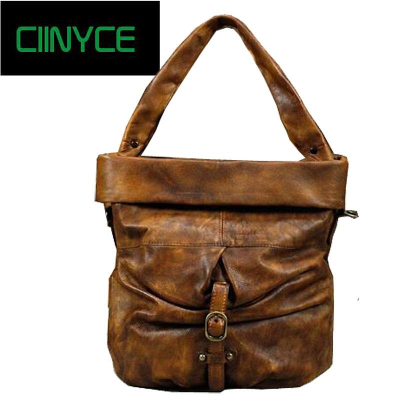 Genuine Leather Vintage Women Handbag Handmade Cowhide Retro Soft Top Handle Totes Bucket Crossbody Shoulder Messenger Bag