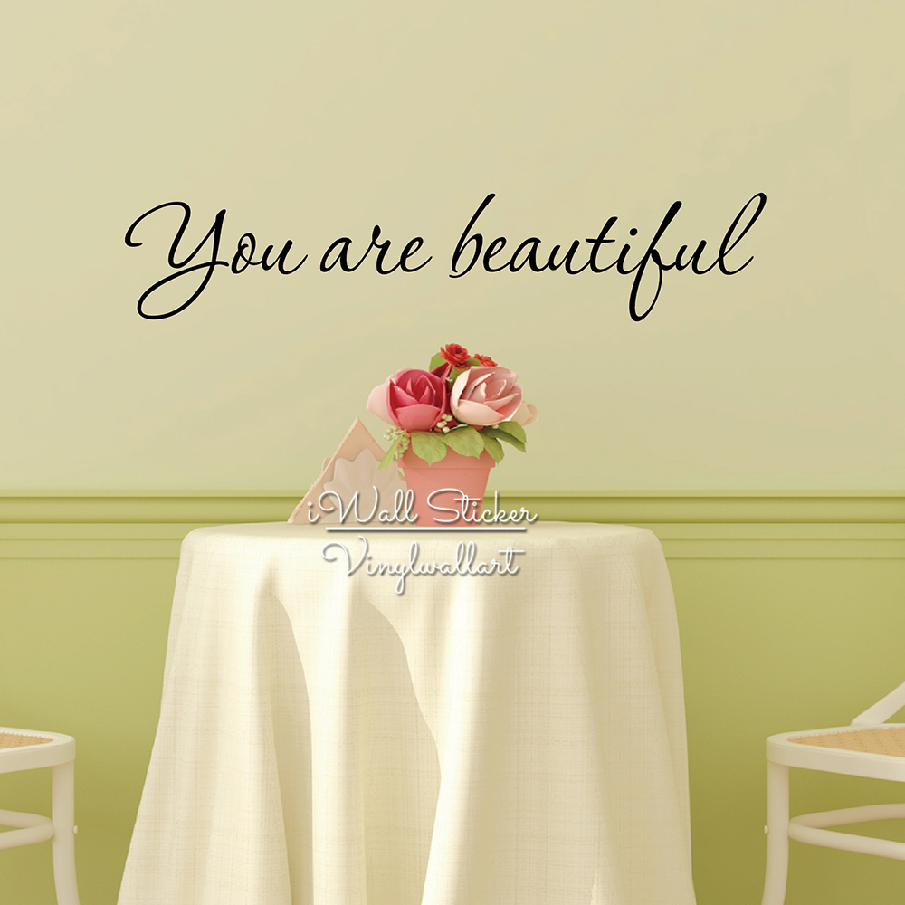 You Are Beautiful Quotes Wall Sticker Love Quotes Wall Art Decals ...