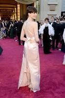 2013 The 85th Annual Academy Awards Anne Hathaway High Collar Cross Backless Pink Slit Satin Red