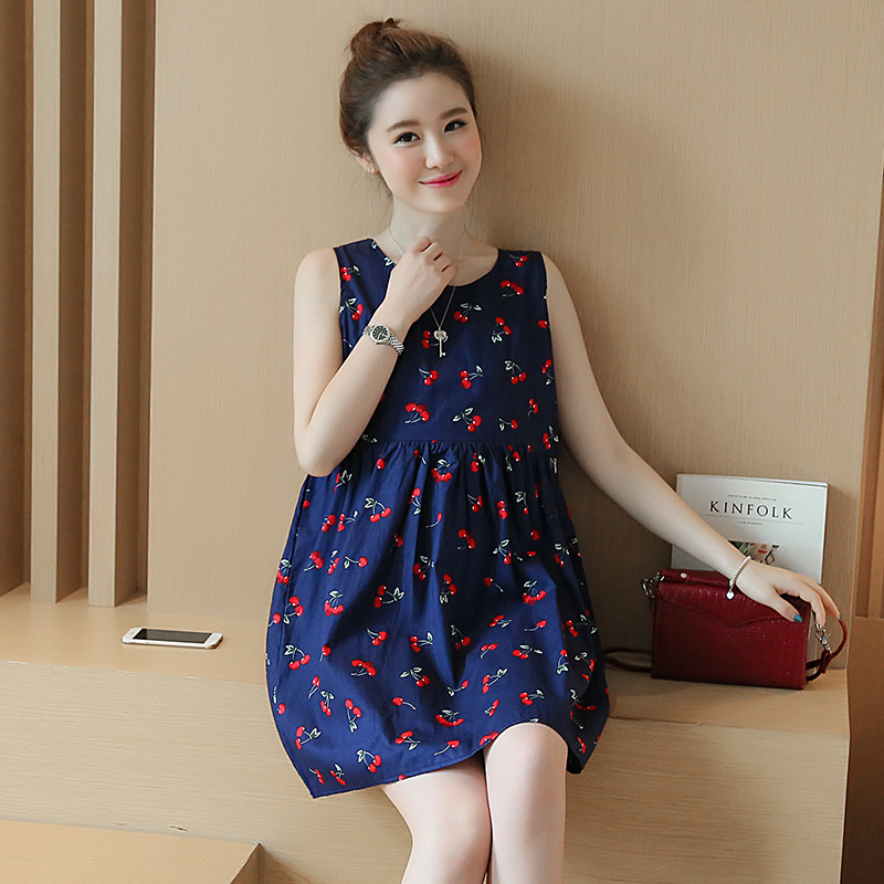 211e4d3d90d6 2017 Korean Style Maternity Summer New Fashion Back V Neck Cherry Pregnant Women  Dress for Lactating Mothers Clothes YFQ013