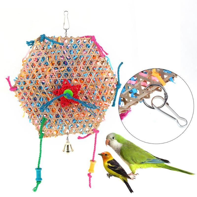 Bell Six Angle Wooden Swing Parrot Bird Toys Bird Cage Accessories For Bird Pecking Sewing Game Playing Pet Product