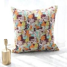 Hot Decorative Pillowcase Cartoon Cat Print Cushion Cover Throw Square Pillow Case Bedroom Sofa Seat Car Home Tetile Cojines cat print pillowcase cover