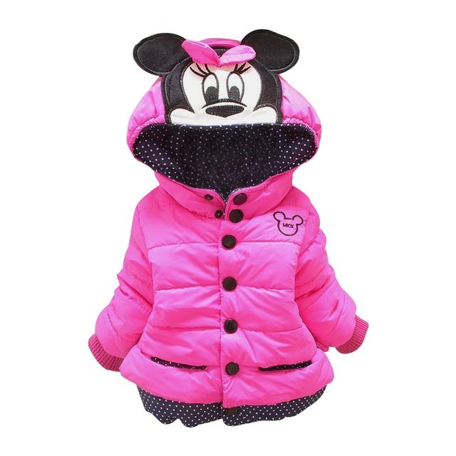 2017 Niños de la Capa de Minnie Del Bebé Niñas Abrigos de invierno de manga larga capa de la muchacha caliente Del Bebé chaqueta de Invierno Ropa de Abrigo Gruesa niños Con Capucha