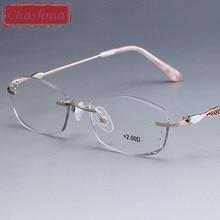 Chashma Brand Rimless Eye Glasses Women Quality Optical Read Diamond Trimmed Ready Tint Lenses Reading