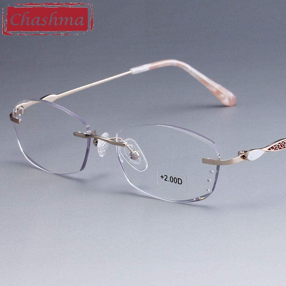 Chashma Brand Rimless Eye Glasses Women Quality Optical Read Glasses Diamond Trimmed Ready Glasses Tint Lenses Reading Glasses
