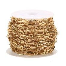1 метр 4 мм ширина нержавеющей стали золотой тон Круг Звено Якорной цепочки для моды женщин ожерелье изготовление
