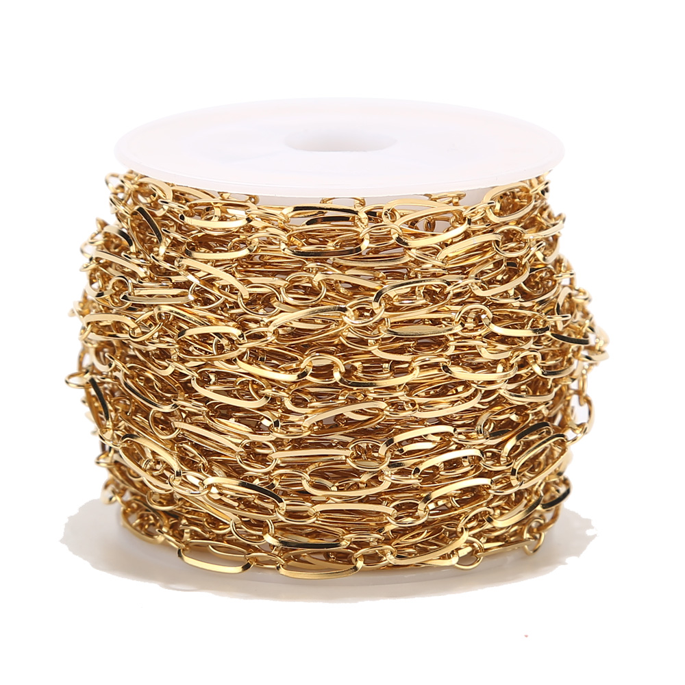 1 Meter 4mm Width Stainless Steel Gold Tone Circle Rolo Link Chain For Fashion Women Necklace Making