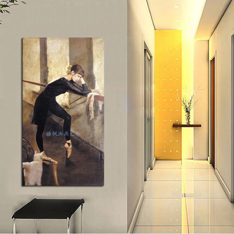 Pure Hand painted portrait beautiful woman decorative wall pictures oil painting on canvas home decor gift for living room in Painting Calligraphy from Home Garden