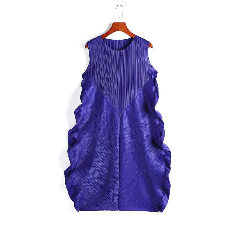 LANMREM плиссированные стильные летние винтажные женские платья с круглым вырезом без рукавов плиссированные свободные широкие пуловерные платья женские WG68905