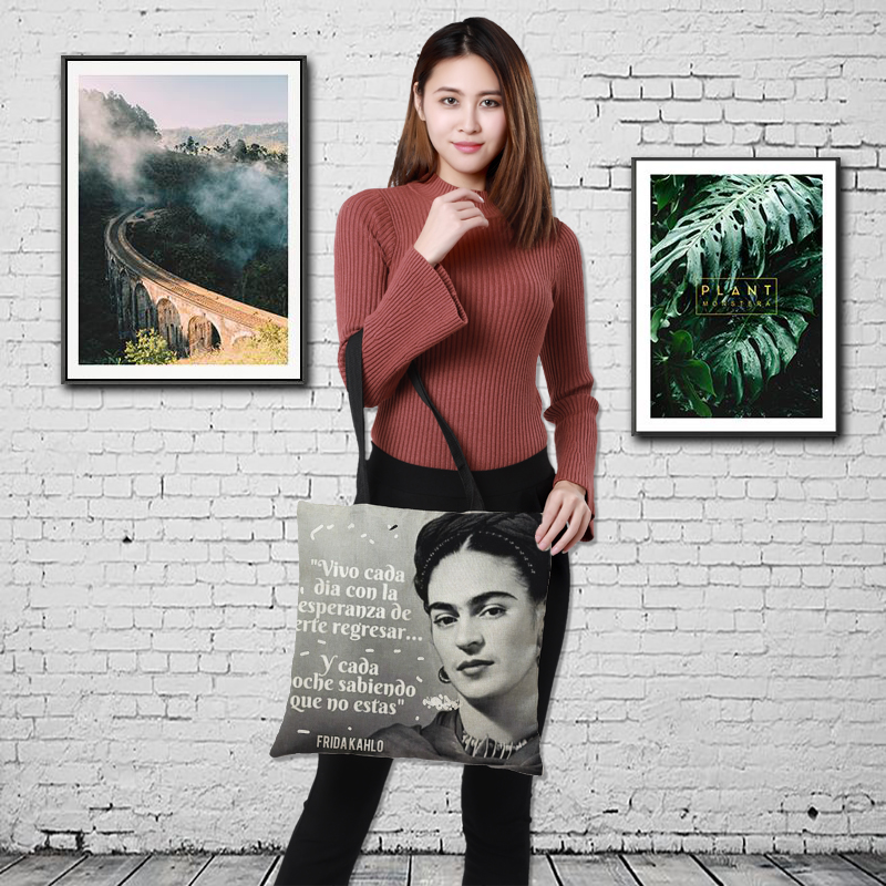 CROWDALE 43cm*43cm Double-sided printing  Frida Kahlo style Printe Women Large Shopping Bag Ladies Linen sack Halloween gift bag