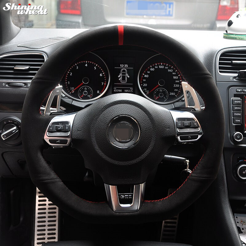 2010 Volkswagen Golf Interior: Red Marker Black Suede Car Steering Wheel Cover For